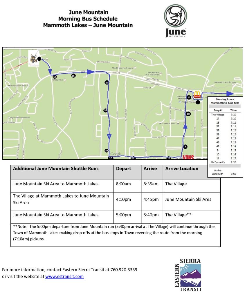 June Mountain Bus Schedule