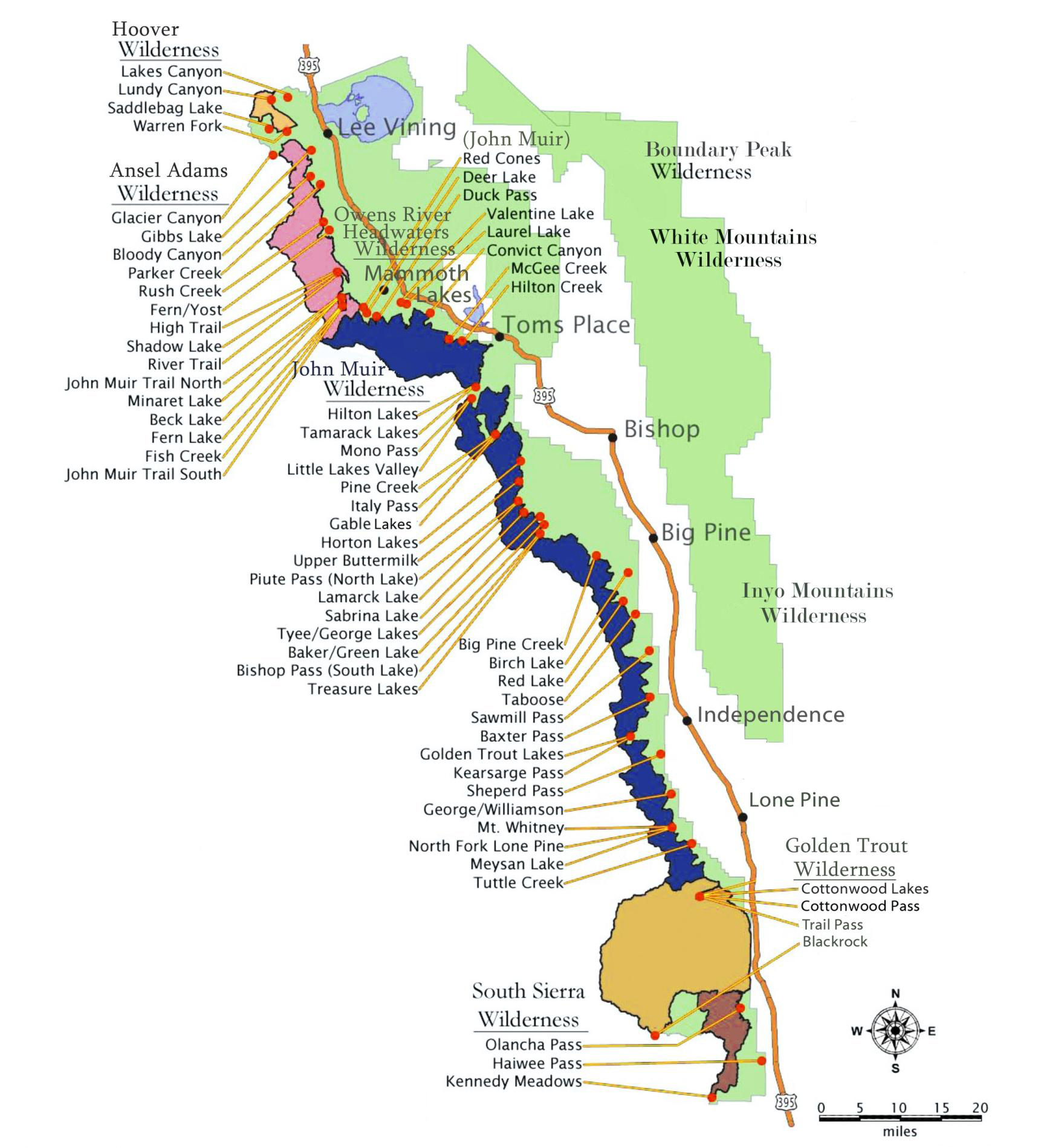 Printable Travel Maps Of Yosemite National Park Mooncom San Diego - Us 395 map