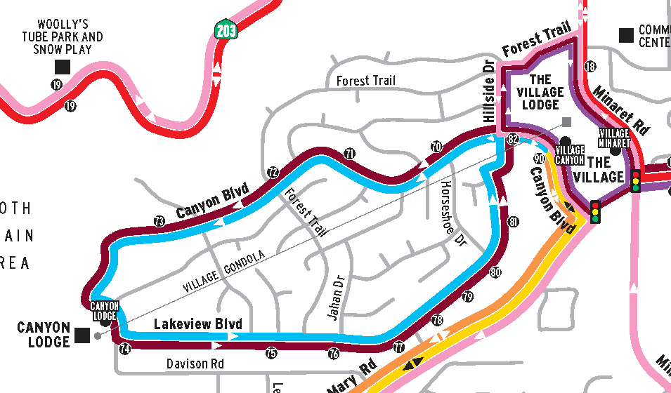 Mammoth Lakes Blue Line Bus Map